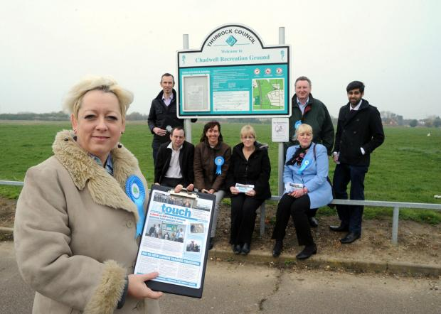 Campaigning – Thurrock MP Jackie Doyle-Price, foreground, at Orsett Heath