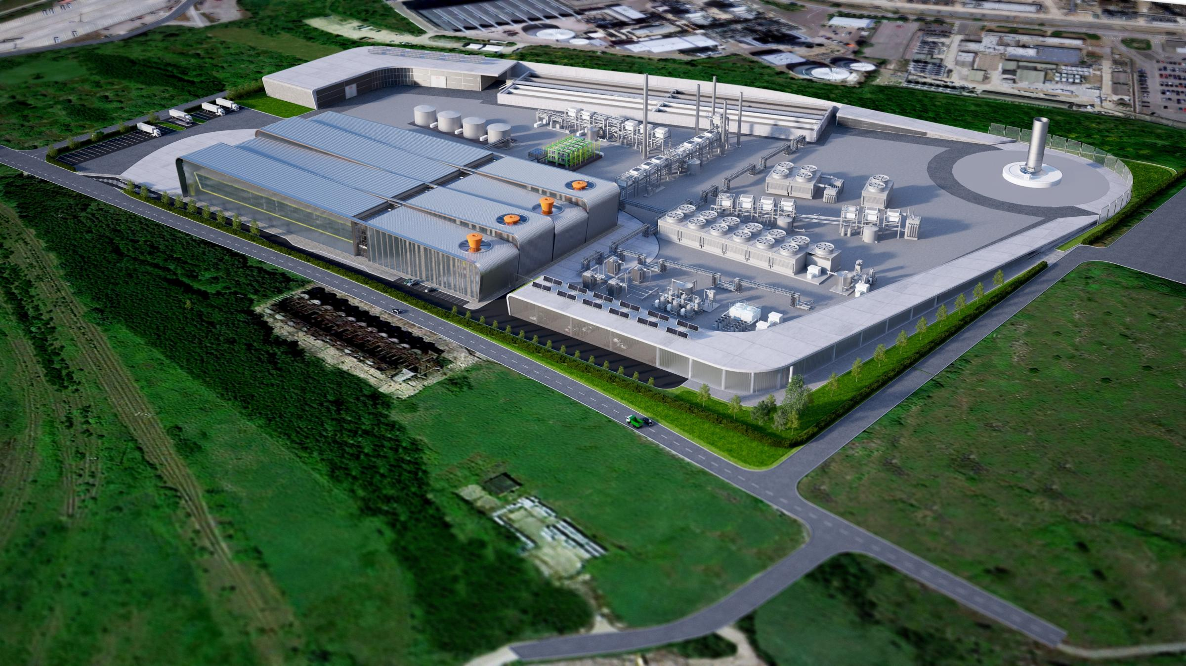 An artists' impression of the proposed waste-to-jet fuel centre, bringing more than 1000 jobs to Thurrock