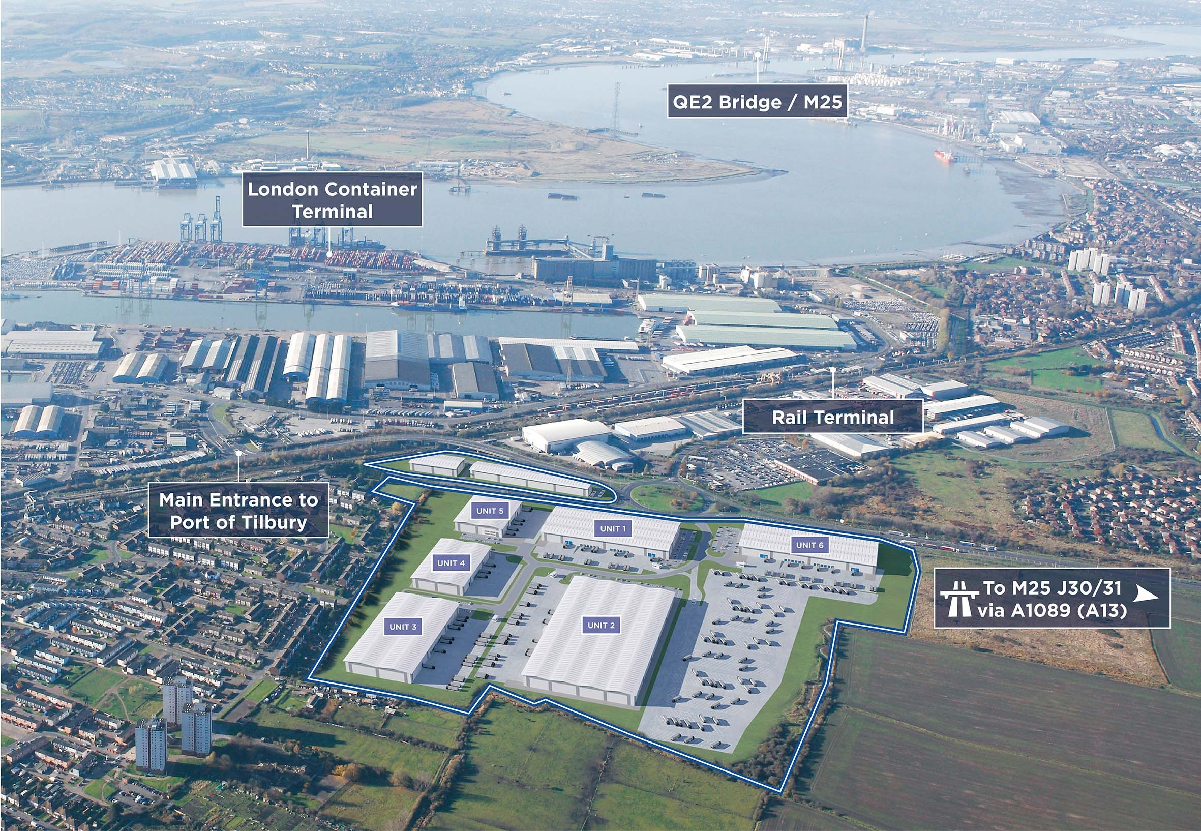 The London Distribution Park plan from the air