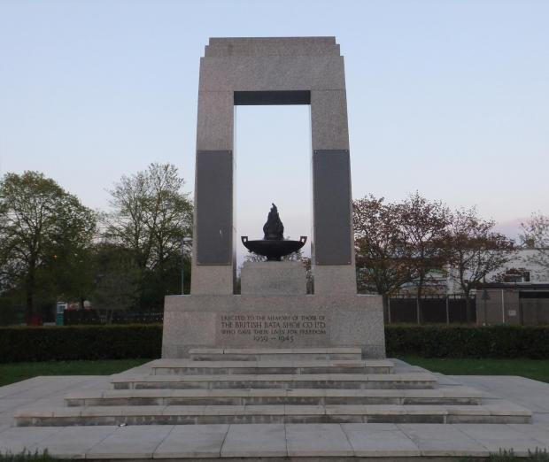 Thurrock Gazette: The restored and refurbished memorial which sits between the Bata buildings and East Tilbury's primary schools