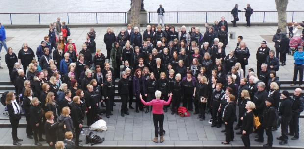 The choir performing on London's south bank