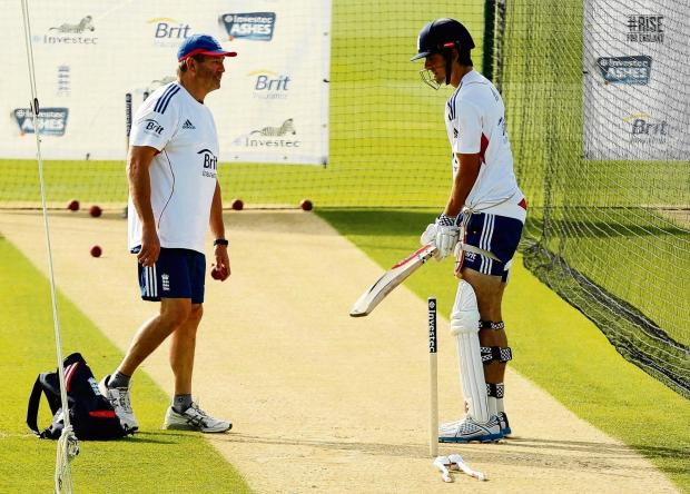 Thurrock Gazette: Graham Gooch working with Alastair Cook in the nets in Australia