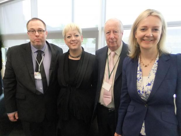 Thurrock Gazette: Executive Principal Matthew Britt, Thurrock MP Jackie Doyle-Price, Lord Harris of Peckham and education minister Liz Truss at the Harris Primary Academy.