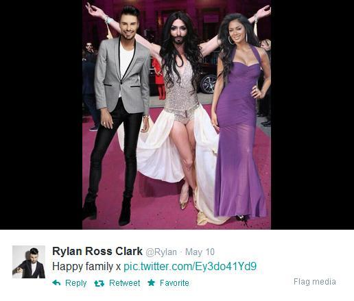 Thurrock Gazette: Rylan's mocked up picture of him, Nicole Scherzinger and Conchita Wurst