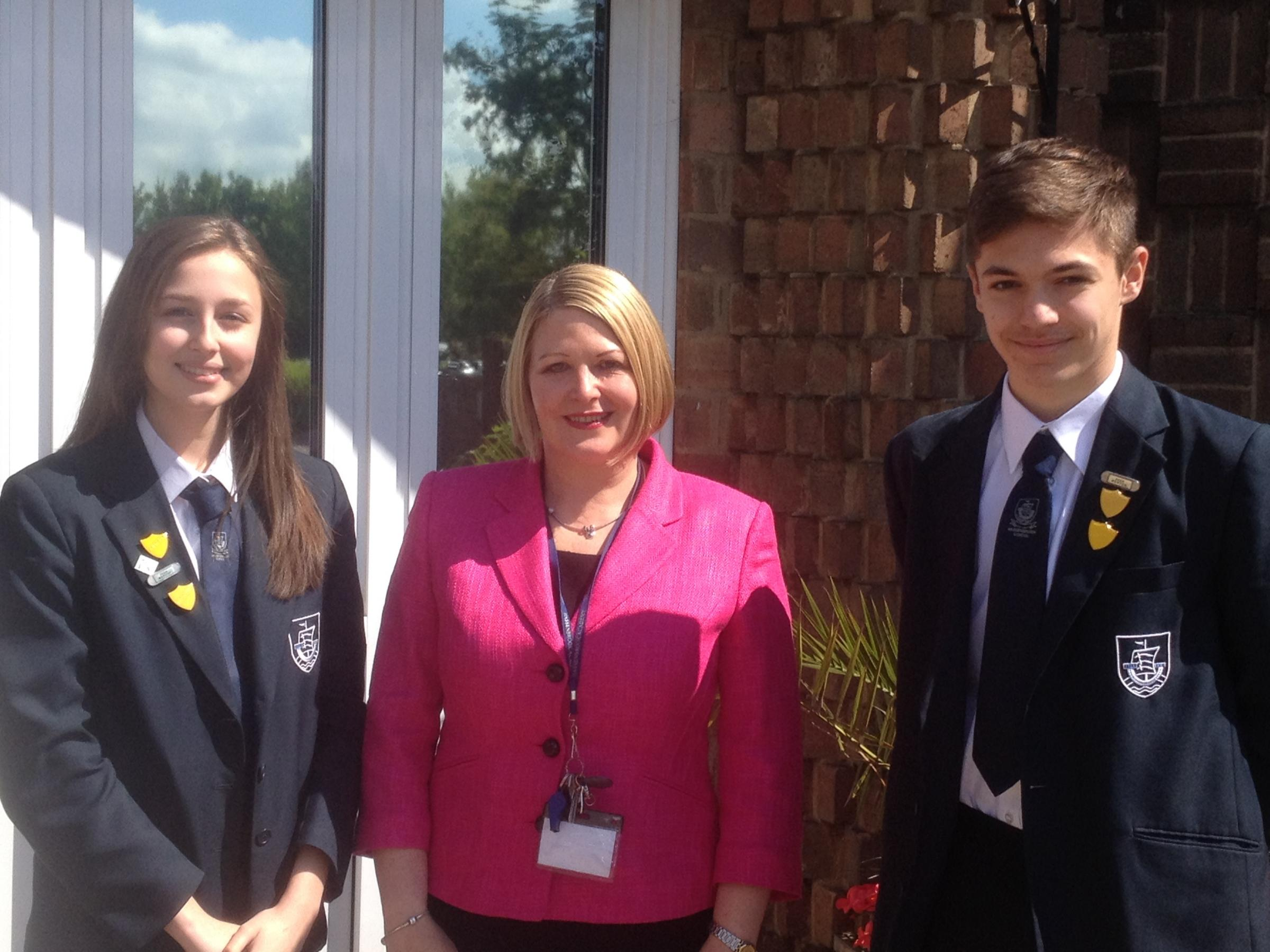Head girl Hannah Lee, left, with headteacher Michelle Bamber and head boy Brody Stopher