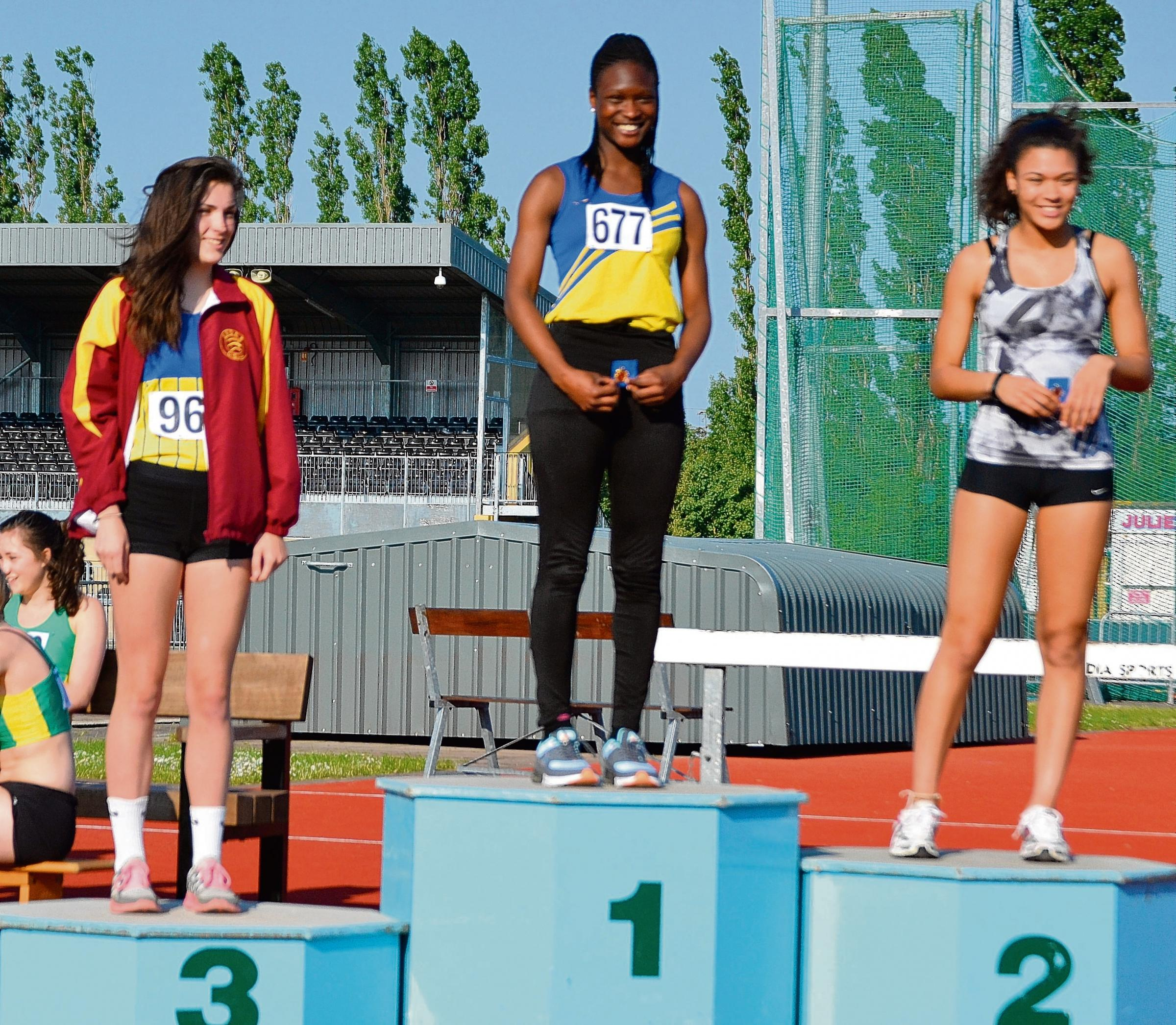 Thurrock's Modupe Shokunbi on the top of the podium