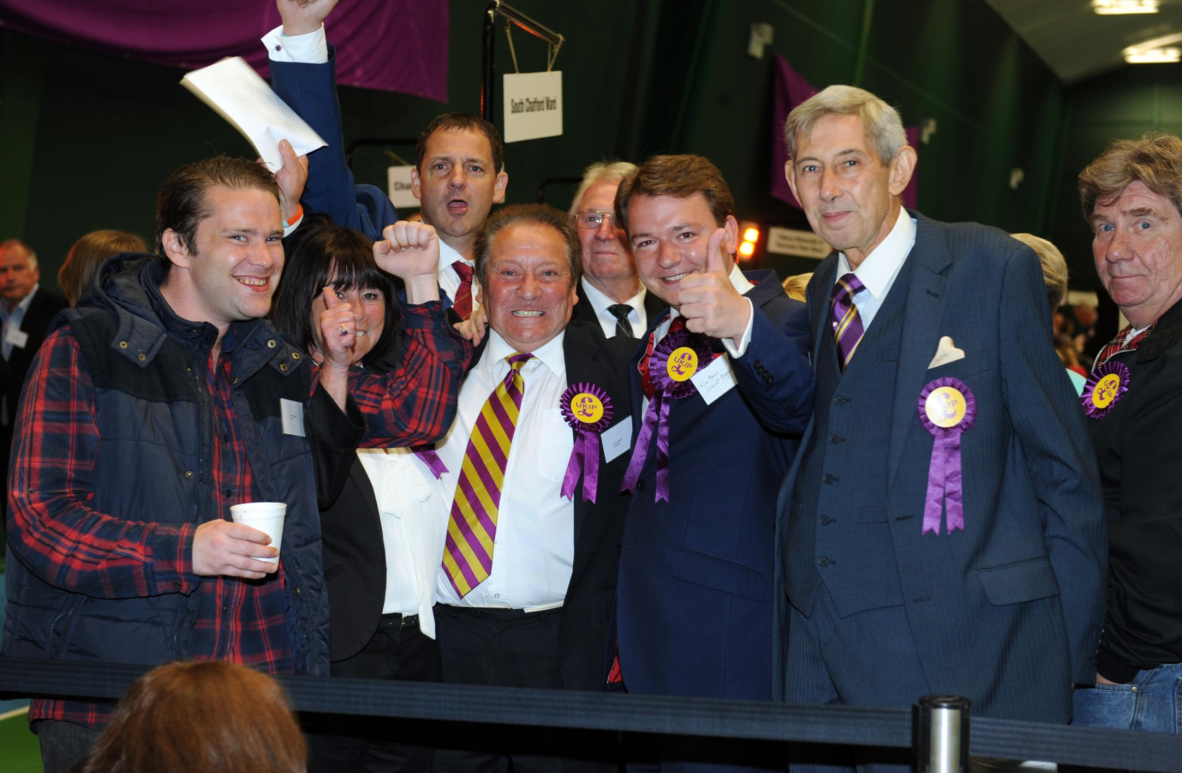 UKIP celebrate Chris Baker's win in Belhus - it turned out to be a good night for the party in Thurrock