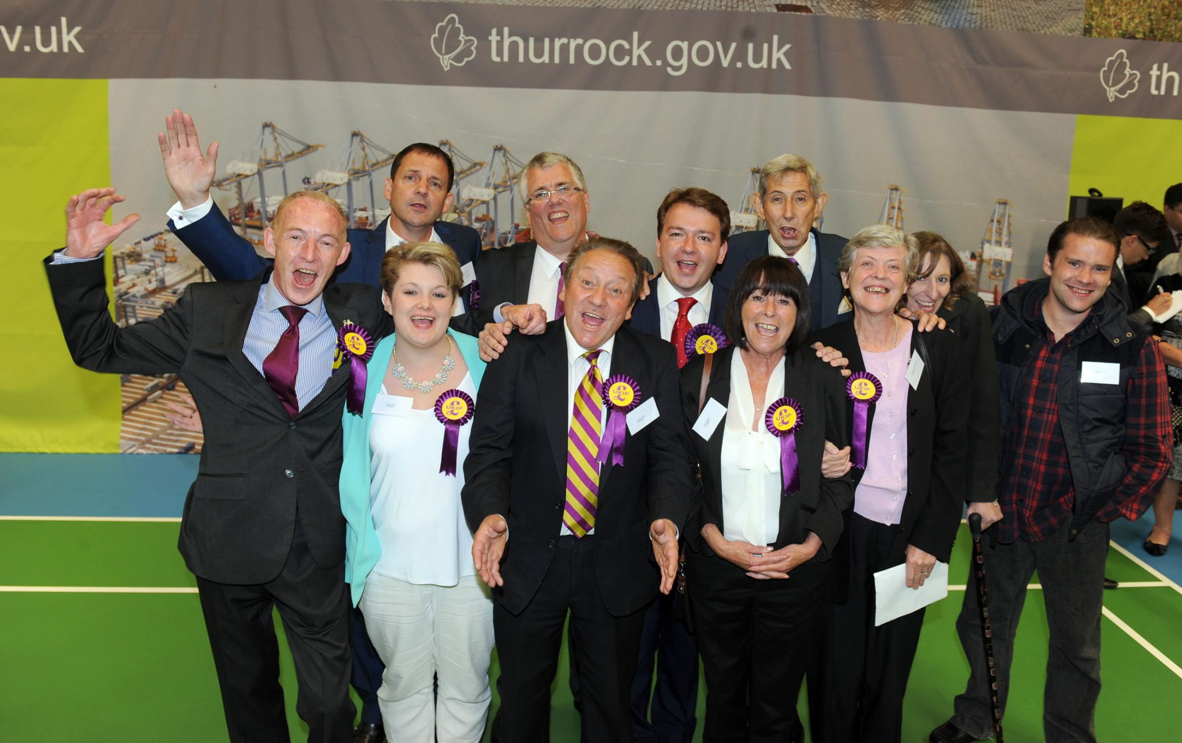 Jubilant - Thurrock Ukip members enjoy a successful night