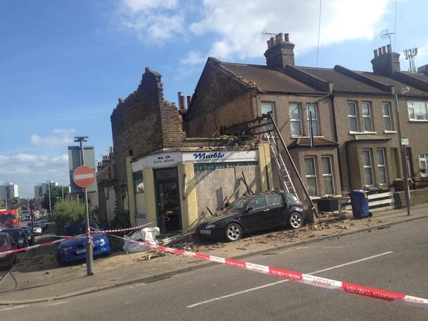 Thurrock Gazette: The collapsed corner shop, which is understood to have been derelict for years