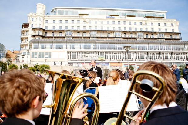 The South Essex Youth Orchestra performing outside the Park Inn By Radisson Palace, Southend