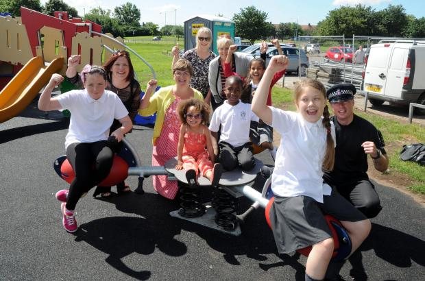 Celebrations! Those behind the project with Deneholm school pupils on the new equipment