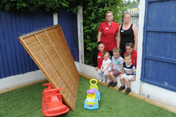 Vandals trash nursery school garden...again