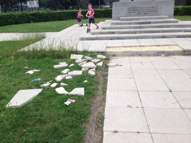 New slabs at the memorial were torn up and smashed