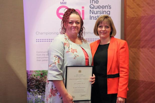 Julia Gibson-Cranch (left) with Kate Billingham CBE, Chair of the QNI's Council