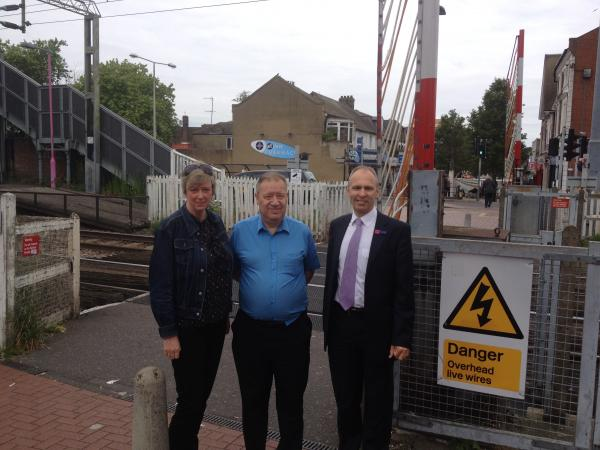Polly Billington, with the council's lead of regeneration Andy Smith (centre) and c2c managing director Julian Drury.