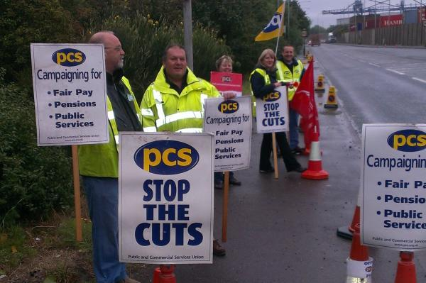 Picketing at Tilbury Docks - but others chose to stay home