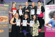 Simply the best – Rebecca Higginson, Charlotte Hurley, Kate Bowhay, Alison Fletcher, Giuseppina D'agostino, Stacey Healy and Catia Lemos with Central Training Group chairman Martin Kolton