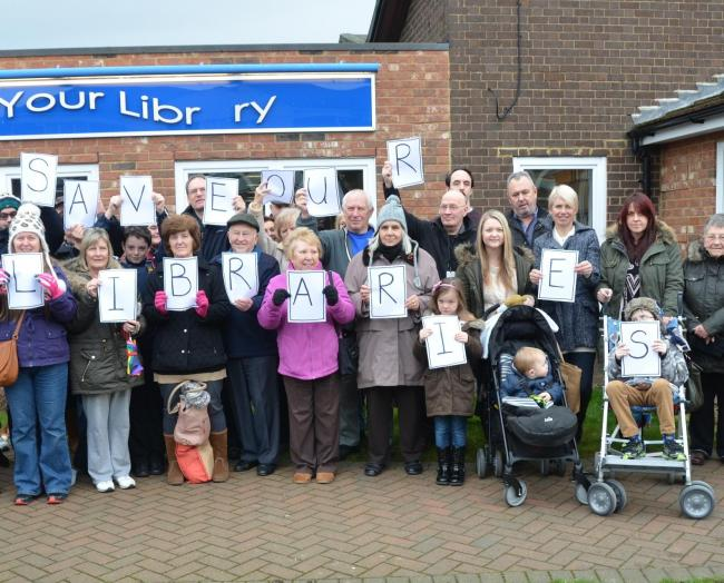 Campaigners outside Corringham library