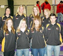 MEDAL WINNERS: From left: back row, Zoe. Harvey, Karis Gregory, Jessica Ford and Kelly Drewry; front, Natalie Ward, Vicky Russell, Lisa Morgans and Anthony Williams.