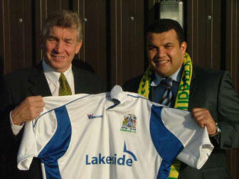 Welcome: Club owner Tommy South. left, welcomes Hakan Hayrettin