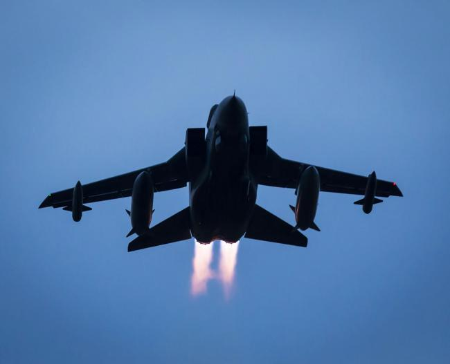 Airstrikes - an RAF Tornado jet heading for Syria