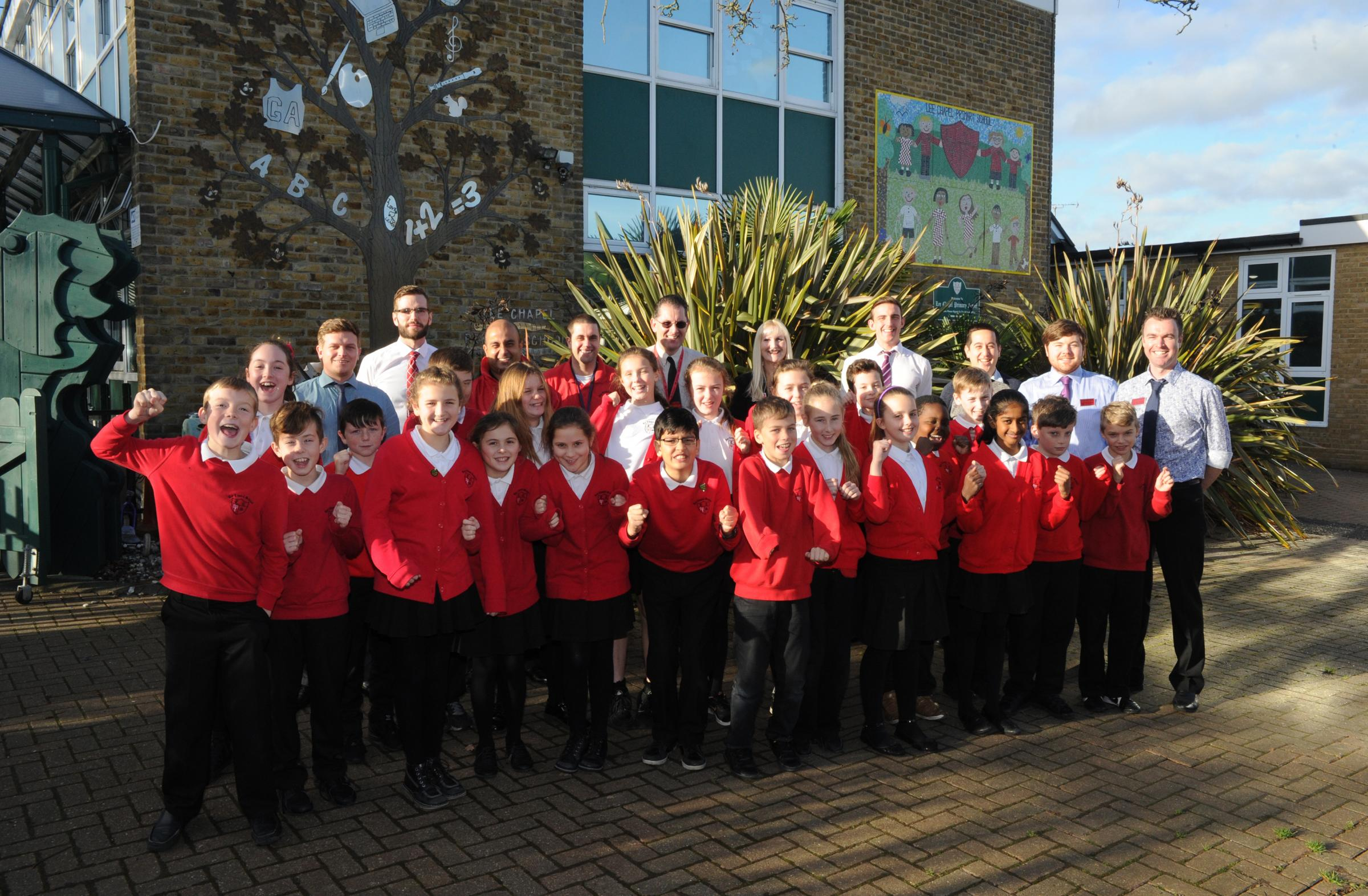 Pupils at Lee Chapel Primary School celebrate the school's success