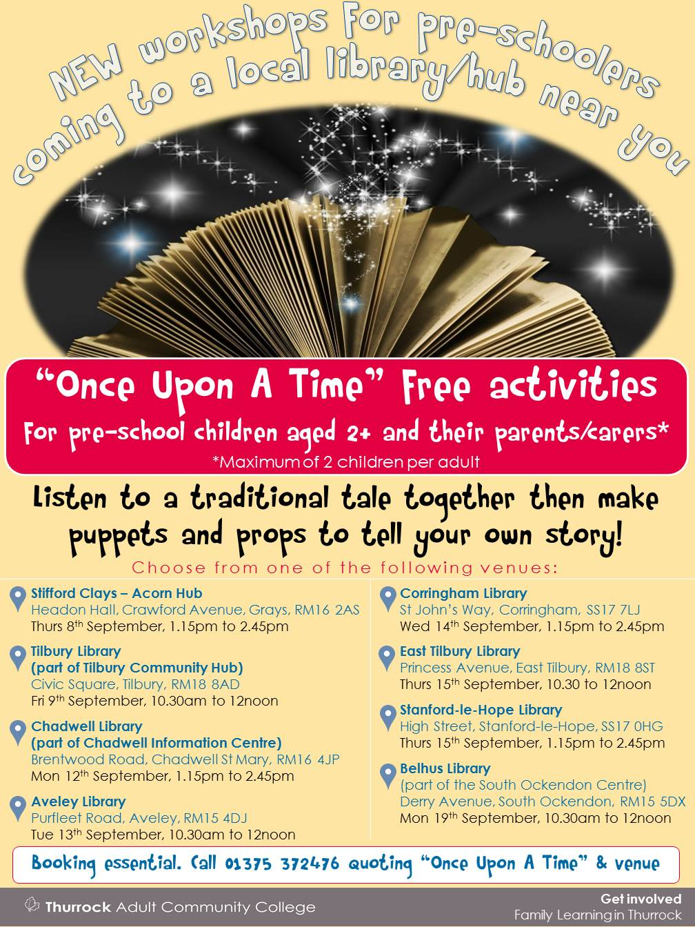 Once Upon A Time: Free workshop for pre-schoolers & parents/carers