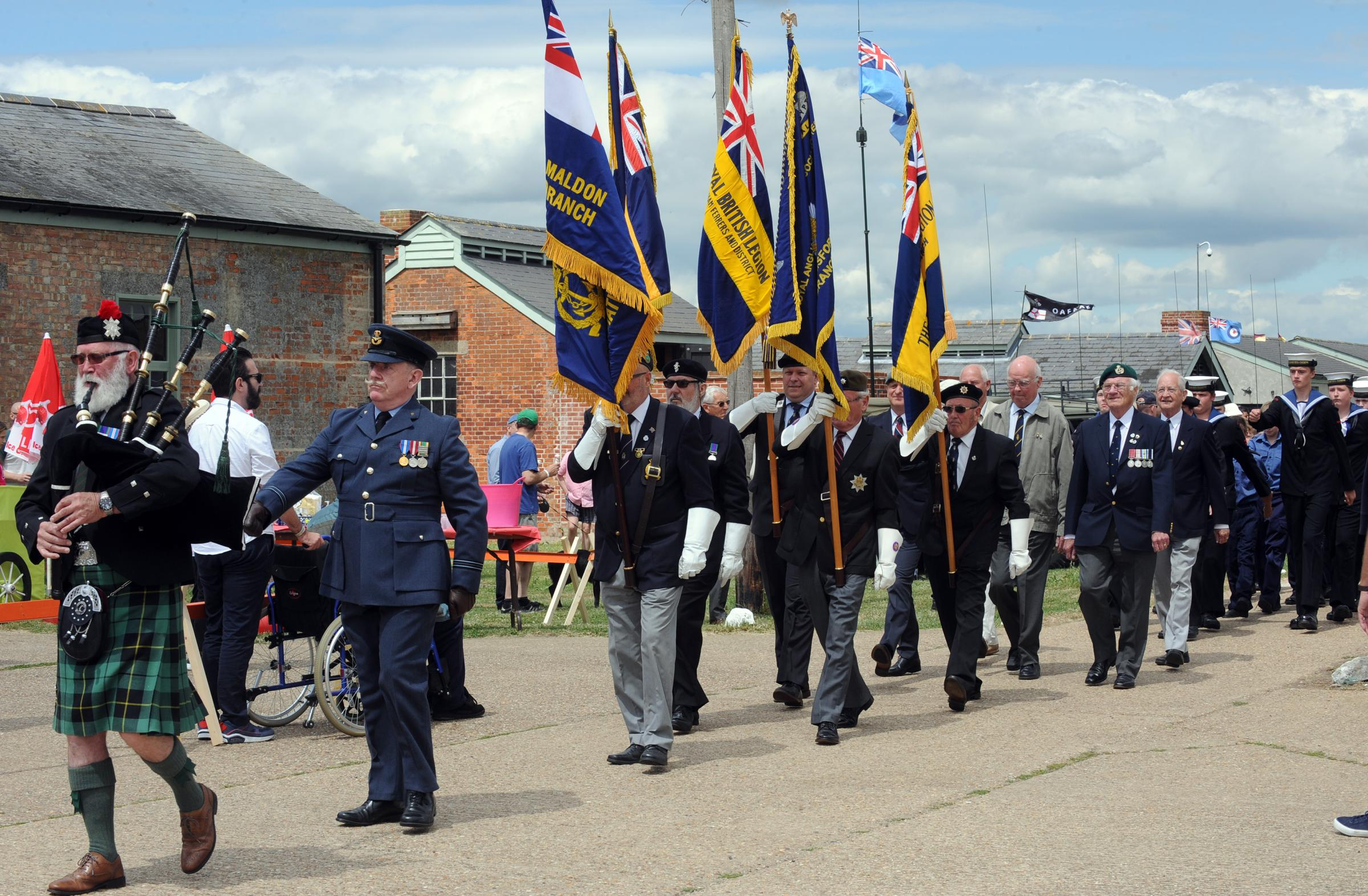 Armed Forces Day at Stow Maries Aerodrome, 24/06/2017.pArade and Service.the Parade was led by Piper William Wallace from Essex Caledonian Pipers.