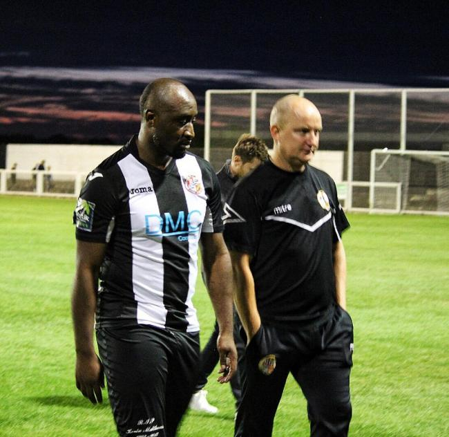 Unlikely outing - Lomana LuaLua, left, with Tilbury boss Joe Keith Picture: MILLY MERCER