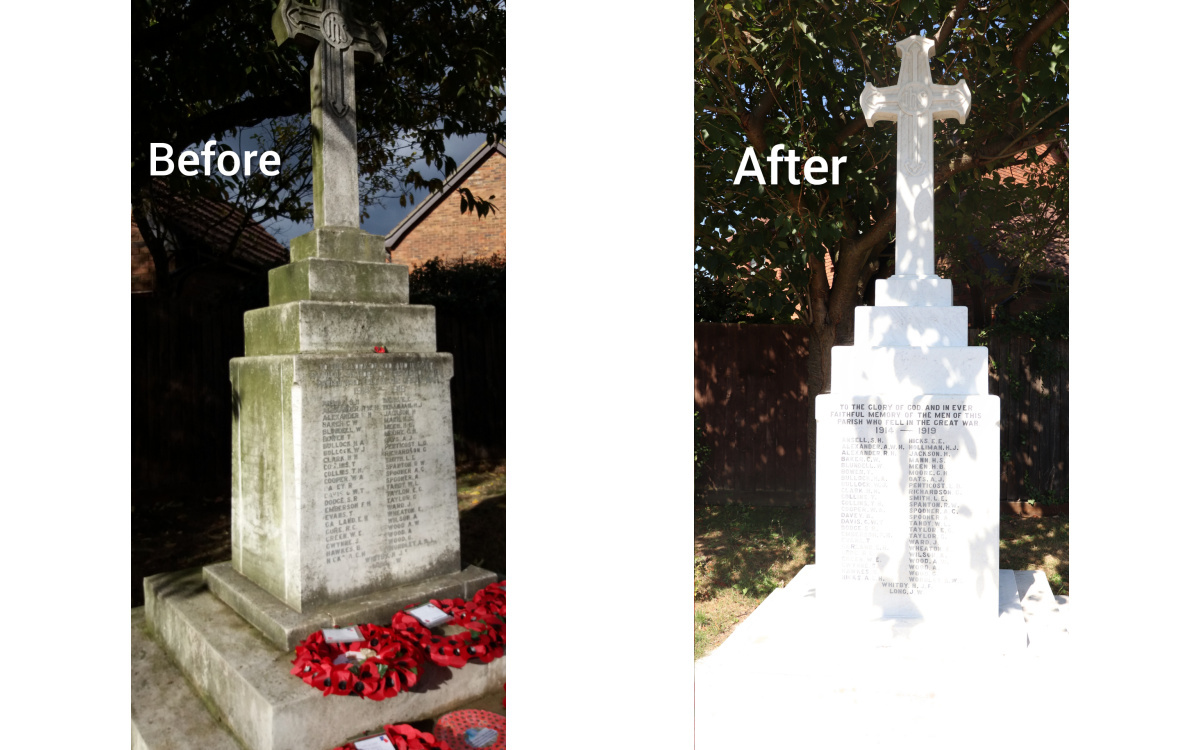 Before and after of the War Memorial