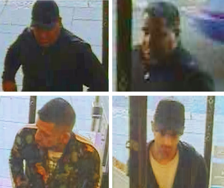 Police are searching tfor these four men in connection with a theft in High Street, Maldon