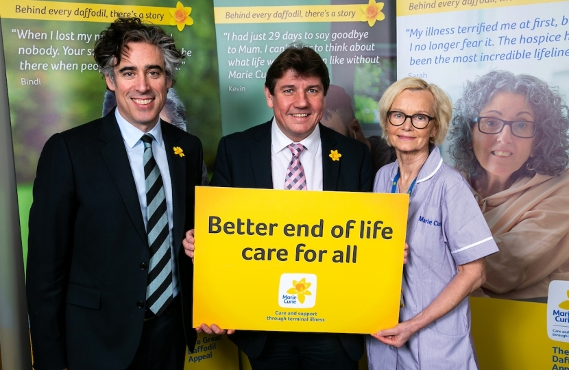 Stephen Metcalfe, MP for South Basildon & East Thurrock, and Marie Curie Ambassador actor Stephen Mangan, along with Marie Curie Rapid Response Healthcare Assistant Patricia McDonnell