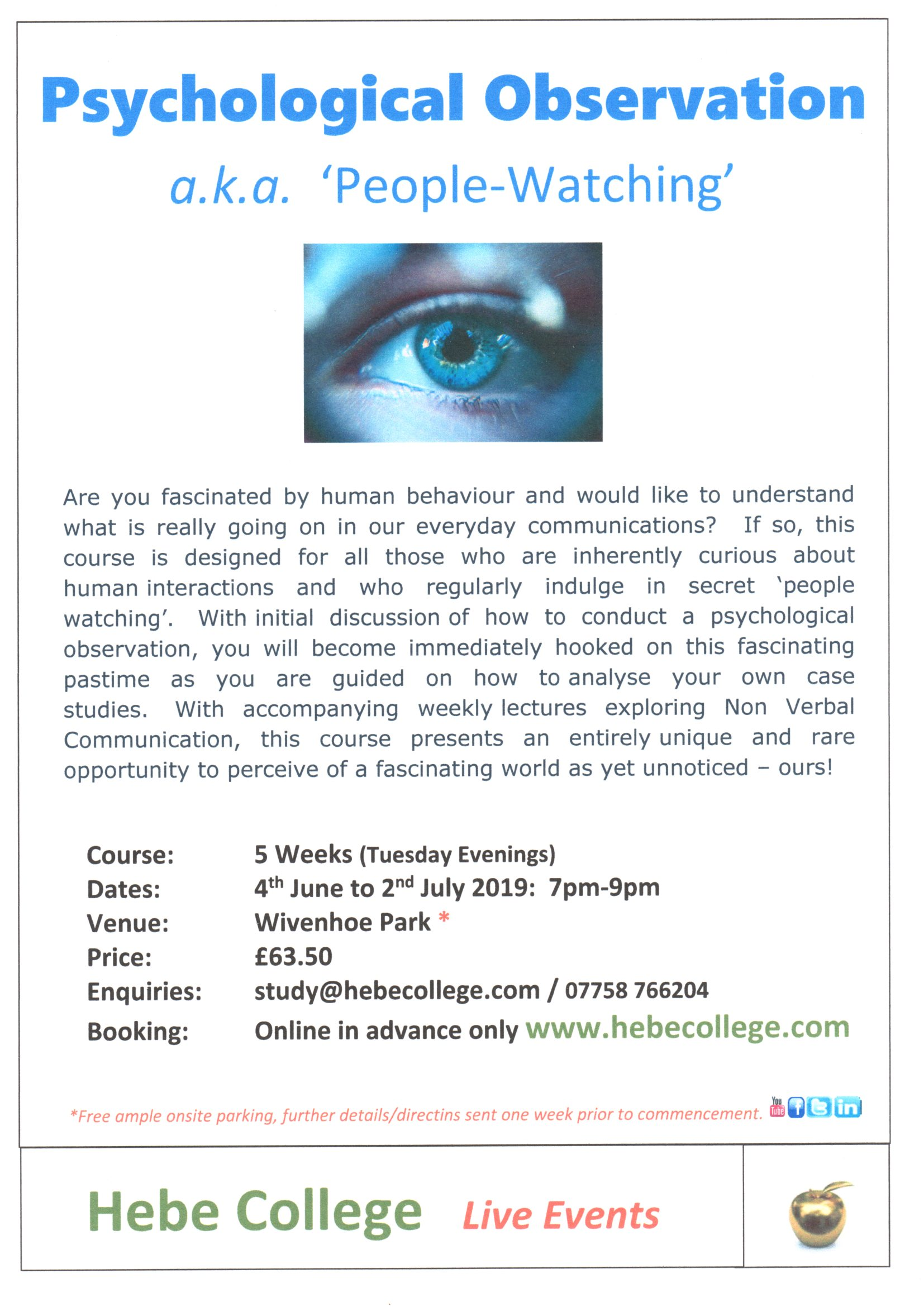 Psychological Observation 'People Watching' - 5 Wks