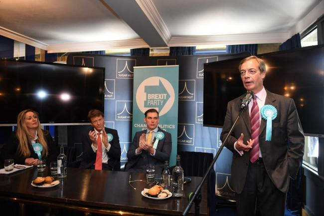 Brexit Party leader Nigel Farage with Brexit Party chairman Richard Tice (second left) and candidates Michael Heaver and June Mummery