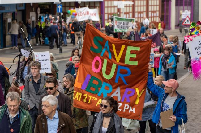 Concern - campaigners at a protest to save libraries earlier this year
